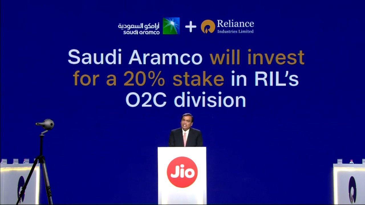 Saudi Arabia Oil Giant Aramco to buy 20% in Reliance
